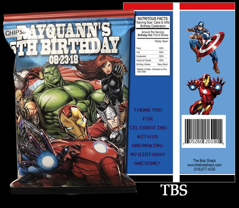 Personalized Captain America #3B ChipTreat Bag,Birthday,Chip Bag Favor Bag,Superhero,Superhero Chip Bag